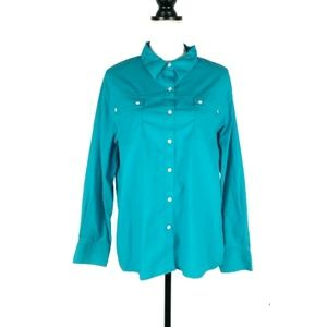 Chico's turquoise blue button up shirt 3 XL 16